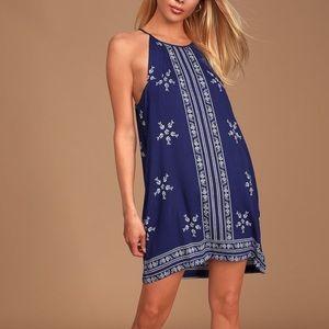 Maurices Halter Midi Dress Floral Blue/White M